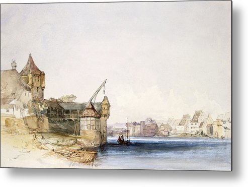 Basle Metal Print featuring the drawing View At Basle, 1842 by John Harper