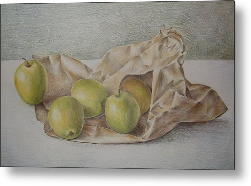 Drawing Metal Print featuring the drawing Apples In A Paper Bag by Jubamo