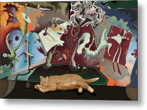 Drawing Metal Print featuring the digital art Cat Dreams II by Tom Durham