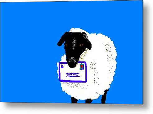 Sheep Metal Print featuring the digital art Ewe Have Mail by Carole Boyd