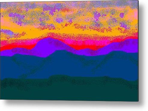 Landscape Metal Print featuring the digital art Hill Country Sunset by Carole Boyd