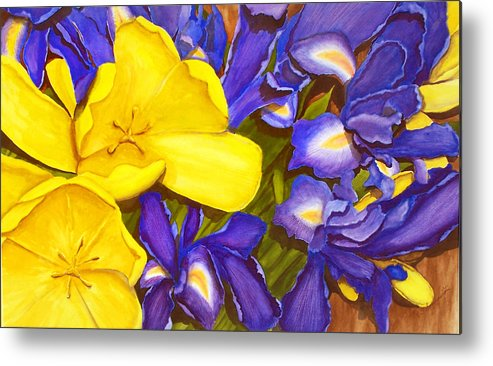 Watercolor Metal Print featuring the painting Iris Withtulip by Robert Thomaston