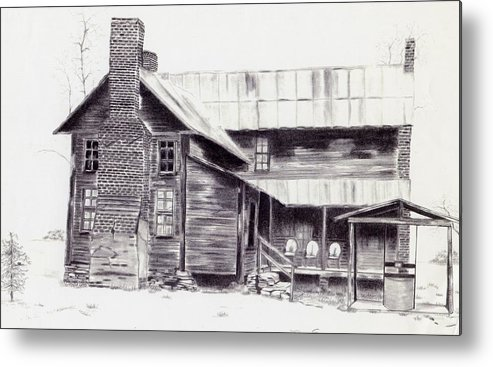 Landscape Metal Print featuring the drawing Old Willard Home by Penny Everhart