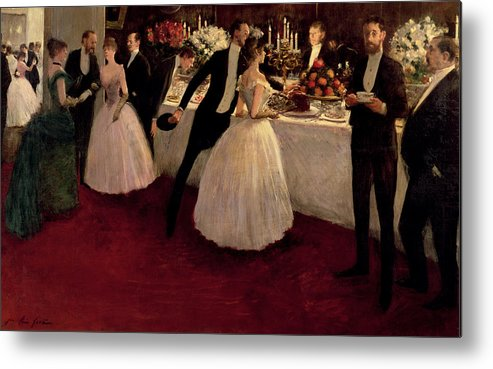 The Buffet Metal Print featuring the painting The Buffet by Jean Louis Forain