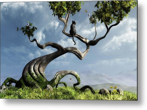 Whimsical Metal Print featuring the digital art The Sitting Tree by Cynthia Decker
