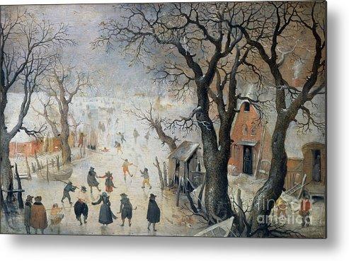 Winter Metal Print featuring the painting Winter Scene by Hendrik Avercamp