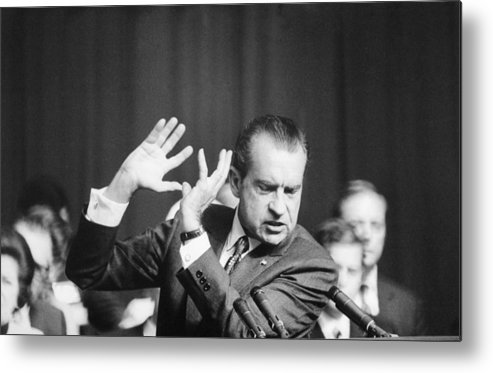 History Metal Print featuring the photograph President Richard Nixon Gesturing by Everett