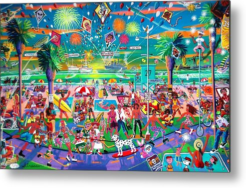 Venice Beach Metal Print featuring the painting Independence Day Venice Style by Frank Strasser