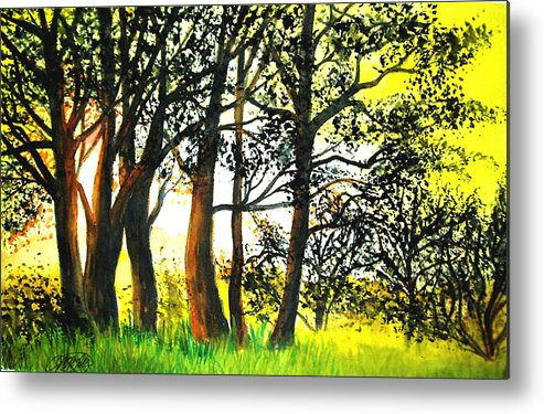 Landscape Metal Print featuring the painting Arbutus by Vivian Mosley