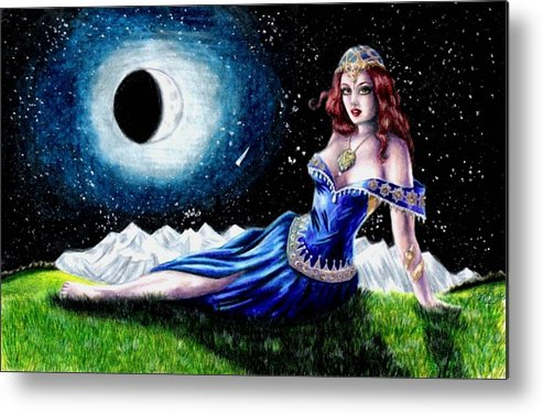 Witch Metal Print featuring the drawing The Moon Witch by Scarlett Royal