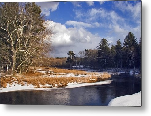 Snow Metal Print featuring the photograph Brilliant Sky Snowy Brook by Frank Winters