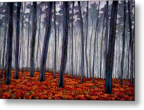 Landscape Metal Print featuring the painting Crimson Walk by Johnathan Harris