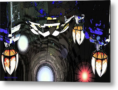 Abstract Metal Print featuring the digital art Exiting The Mother Ship by DigiArt Diaries by Vicky B Fuller