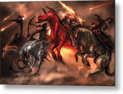 Concept Art Metal Print featuring the digital art Four Horsemen by Alex Ruiz