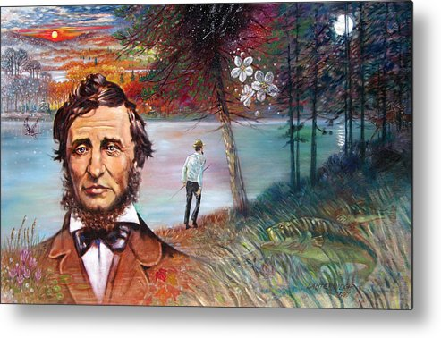 Henry David Thoreau Metal Print featuring the painting Henry David Thoreau by John Lautermilch