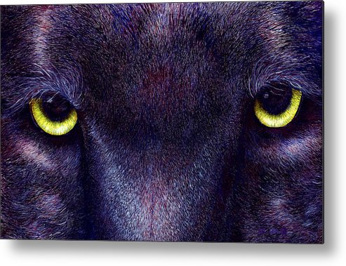 Cats Metal Print featuring the painting Hyptnotist The Black Panther by JoLyn Holladay
