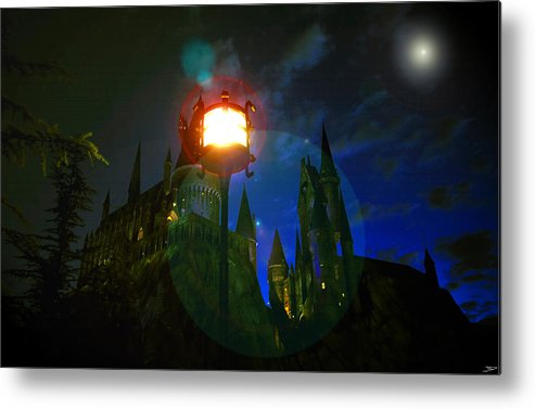 Art Metal Print featuring the painting Medieval Night by David Lee Thompson