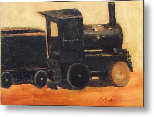 Trains Metal Print featuring the painting Old Wood Toy Train by Chris Neil Smith