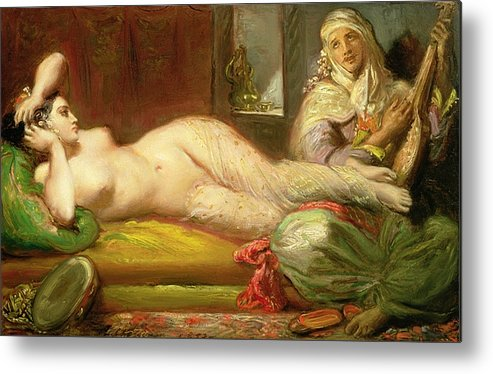 Reclining Metal Print featuring the painting Reclining Odalisque by Theodore Chasseriau