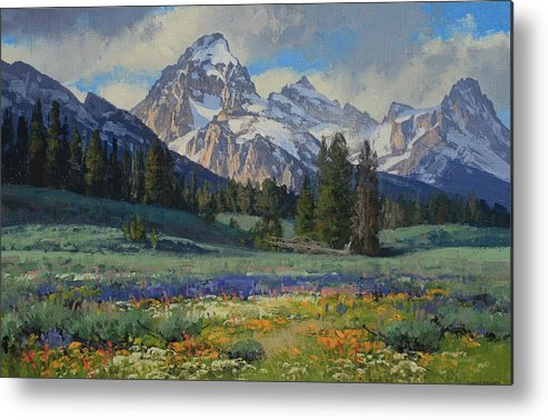 Landscape Metal Print featuring the painting Teton Splendor by Lanny Grant