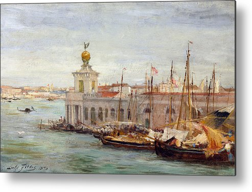 Boat Metal Print featuring the painting Venice by Sir Samuel Luke Fields