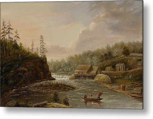 Cheever's Mill; St. Croix River; Landscape; Minnesota; Mill; Building; Industry; Industrial; Industrialisation; Boat; Figures; Houses; Buildings; Exterior; Flowing; Water; Trees; Woodland; Logging; Timber; America; American; Usa; Settlers; Settlement; Hudson River School; Wood Metal Print featuring the painting Cheevers Mill On The St. Croix River by Henry Lewis