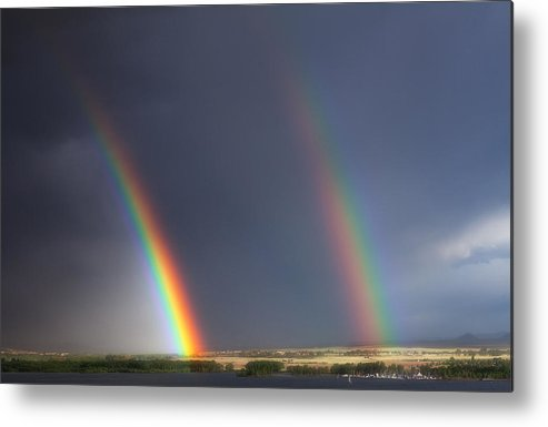 Rainbows Metal Print featuring the photograph Natures Twin Towers by Darren White