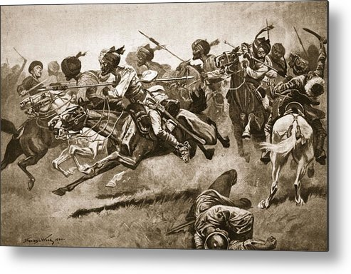 Boxer Rebellion Metal Print featuring the drawing On The Expedition To Pao-ting-fu A by Stanley L. Wood
