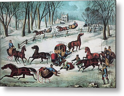 History Metal Print featuring the photograph American Winter 1870 by Photo Researchers