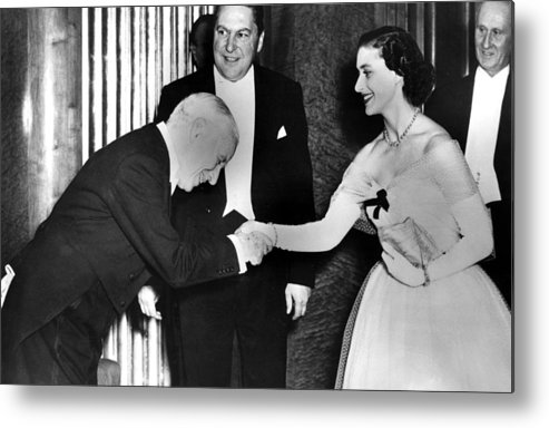 1950s Metal Print featuring the photograph Charlie Chaplin Meeting Princess by Everett