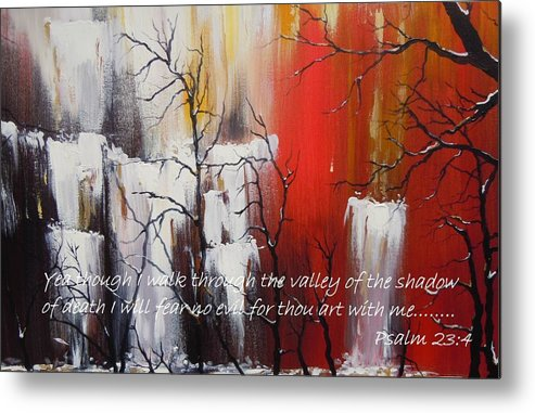 Psalm 23:4 Poster Metal Print featuring the painting Valley Of Shadows Poster by Dan Whittemore