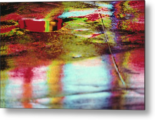Abstract Metal Print featuring the photograph After The Rain Abstract 2 by Tony Cordoza