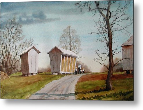 Farm Metal Print featuring the painting Amish Corncribs by Faye Ziegler
