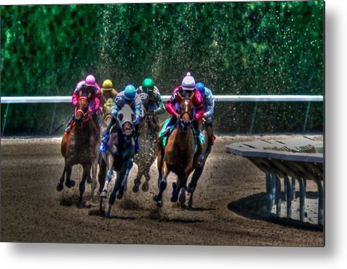 Race Metal Print featuring the photograph And There Off by Roger And Michele Hodgson