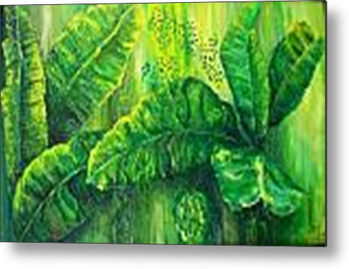 Metal Print featuring the painting Beautiful Banana Leaves by Carol P Kingsley