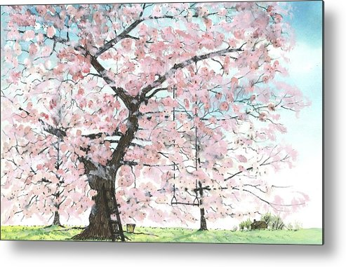 Cherry Trees Metal Print featuring the painting Cherry Trees by Patrick Grills