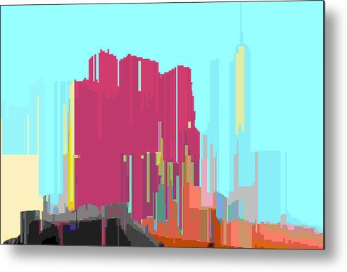 Abstract Metal Print featuring the digital art City Color 3 by Lyle Crump