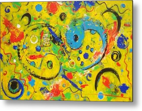 Abstract Fantasy Metal Print featuring the painting Embryo by Anita Dielen