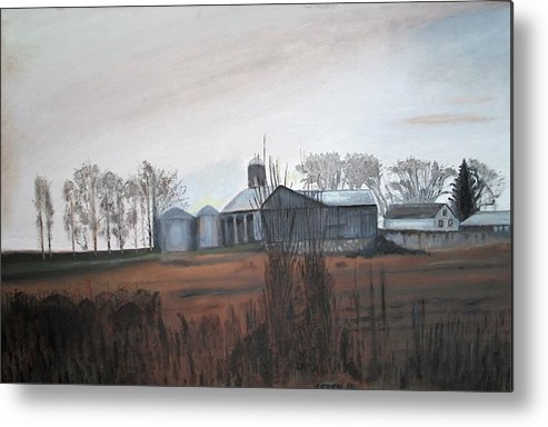 Farm Metal Print featuring the painting Farm In The Fall by Keith Bagg