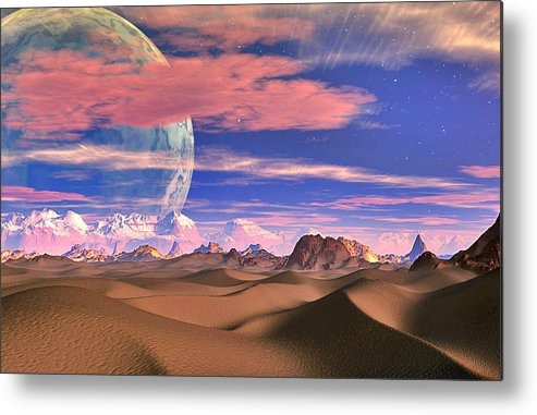 David Jackson Ghost World Alien Landscape Planets Scifi Metal Print featuring the digital art Ghost World by David Jackson