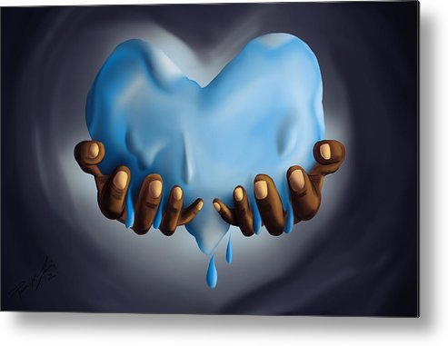 Heart Of Water Metal Print featuring the painting Heart Of Water by Kenal Louis