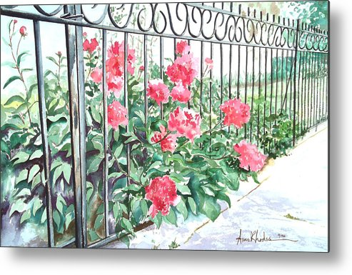 Landscape Metal Print featuring the painting Imprisoned Peonies by Anne Rhodes