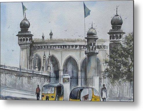 Hyderabad Metal Print featuring the painting Living Legend Mecca Mazjid by Mrutyunjaya Dash