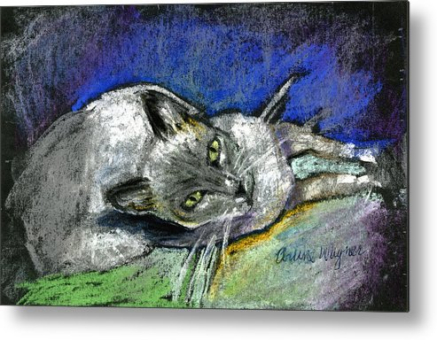 Cat Metal Print featuring the pastel Michael Campbell by Arline Wagner