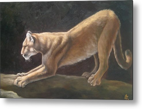 Cougar Metal Print featuring the painting Morning Stretch by Oksana Zotkina