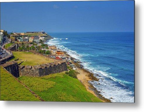 Ocean Metal Print featuring the photograph Old San Juan Coastline by Stephen Anderson