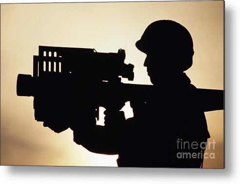 Horizontal Metal Print featuring the photograph Soldier Holds A Stinger Anti-aircraft by Stocktrek Images
