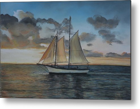 Ship Metal Print featuring the painting Sunset Sail by Charlotte Yealey
