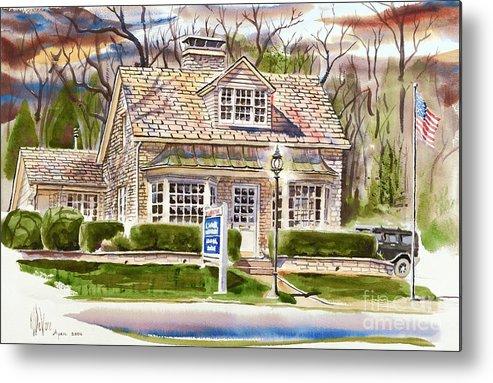 The Greystone Inn In Brigadoon Metal Print featuring the painting The Greystone Inn In Brigadoon by Kip DeVore