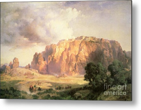 The Pueblo Of Acoma Metal Print featuring the painting The Pueblo Of Acoma In New Mexico by Thomas Moran